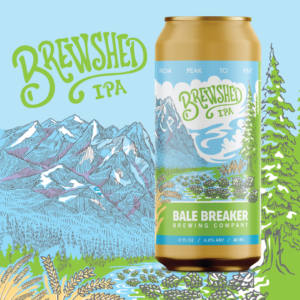 Brewshed IPA Can with mouintain and forest drawing