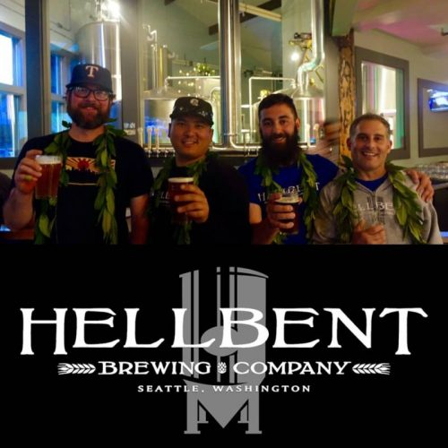 Four members of the Hellbent team holding up a pint of beer