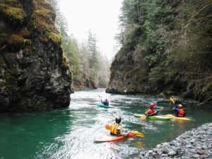 Paddlers on the Dosewallips River. Photo Courtesy of Tom O'Keefe.
