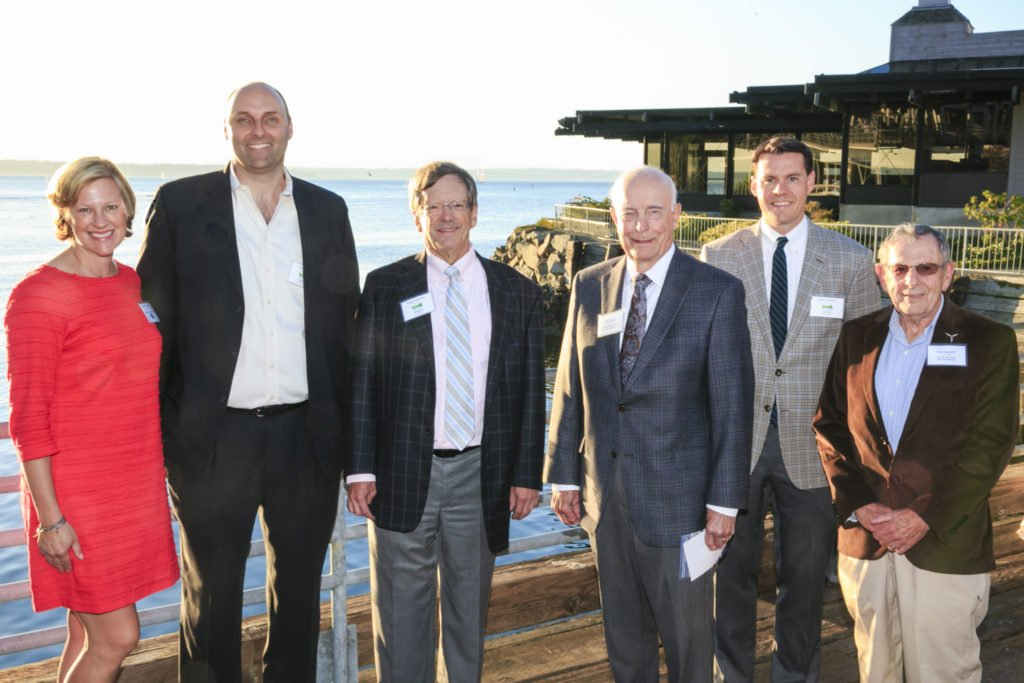 Pamela Brulotte (Icicle Brewing Company, Brewshed Award), Tom Uniack (WA Wild Executive Director), Roger Mellem (WA Wild Past Board President), Daniel J.Evans (Conservation Voices Award), Mark Walters (WA Wild Board President), and Bob Lynette (Karen M. Fant Founders Award) at Wild Night Out 2016. Photo Courtesy of Mandy Paul Photography.